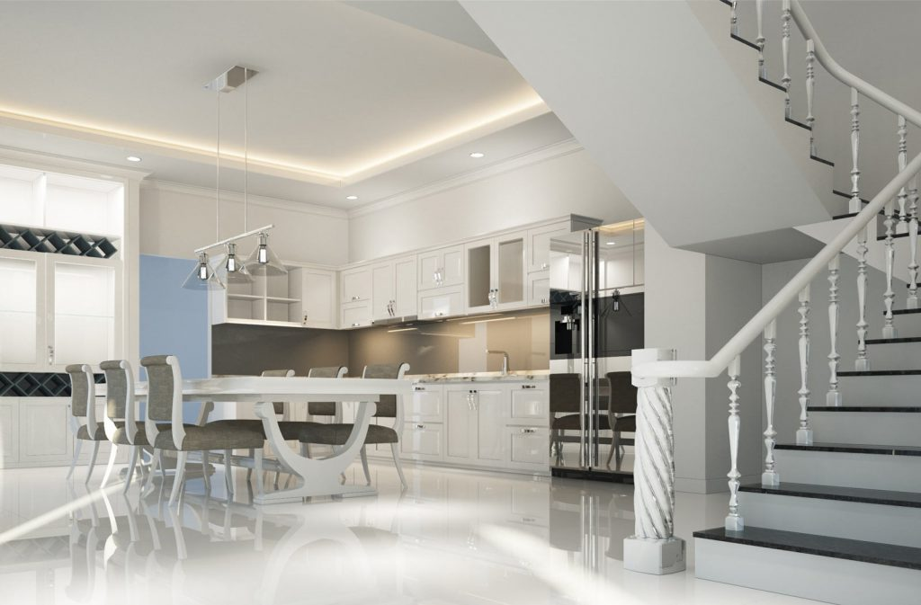 amazing modern kitchen with back lit ceiling and kitchen cabinets - kitchen renovations