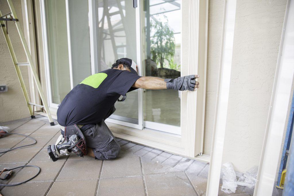 our team installing patio door - door installation toronto